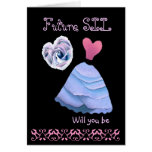 Future Sister-in-Law  Bridesmaid  Blue Dress Heart Greeting Card