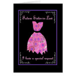 Future Sister-in-Law Bridesmaid Invite Pink Gown Greeting Cards