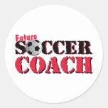 Future Soccer Coach (red) Round Sticker