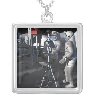 Future space exploration missions 5 silver plated necklace