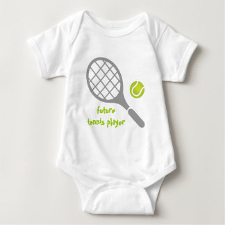 Future tennis player, tennis racket and ball baby bodysuit