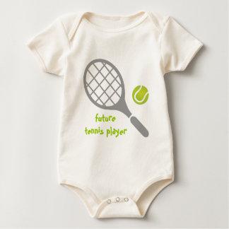 Future tennis player, tennis racket and ball baby bodysuit