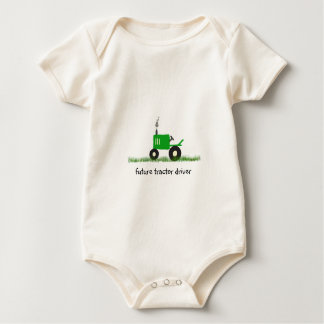 """""""Future Tractor Driver"""" Baby Green Tractor Baby Bodysuit"""