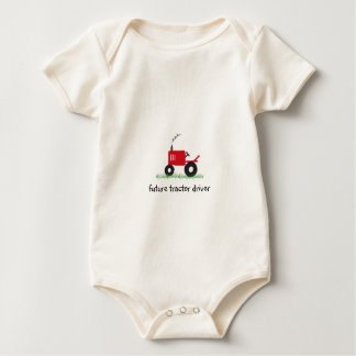 """""""Future Tractor Driver"""" Baby Red Tractor Baby Bodysuit"""