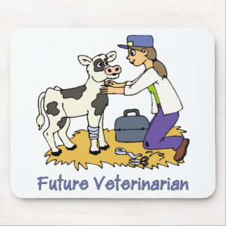 Future Vet - Girl with Cow Mouse Pad