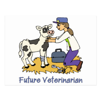 Future Vet - Girl with Cow Postcard
