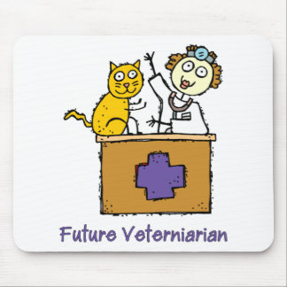 Future Veterinarian - Girl with Cat Mouse Pad