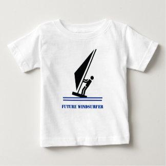 Future windsurfer black, blue windsurfing custom baby T-Shirt