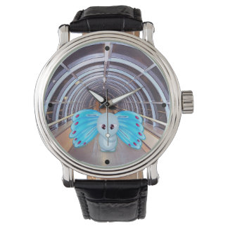 Futuristic Butterfly Elephant Scene Wrist Watches