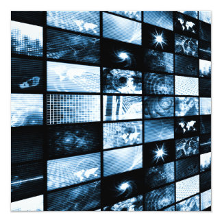 Futuristic Digital Age TV and Channels Background 13 Cm X 13 Cm Square Invitation Card