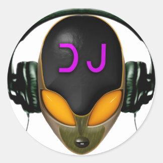Futuristic DJ with Headphones - Orange Style Round Sticker