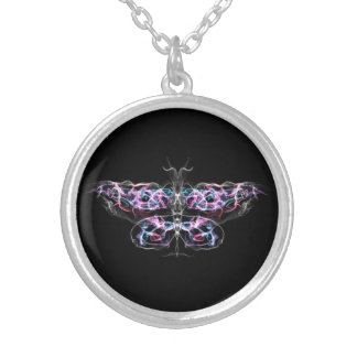Futuristic Fractal Butterfly Industrial Goth Silver Plated Necklace