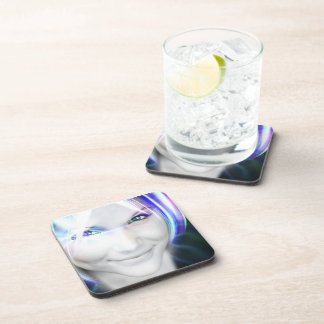Futuristic Glowing Hair Woman Beverage Coasters