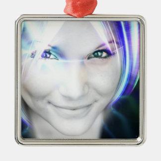 Futuristic Glowing Hair Woman Ornament