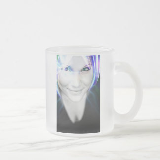Futuristic Glowing Hair Woman Frosted Glass Mug