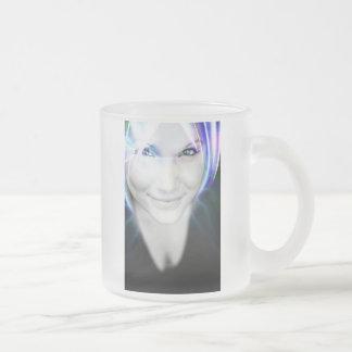 Futuristic Glowing Hair Woman Frosted Glass Mug