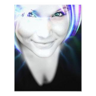 "Futuristic Glowing Hair Woman 4.25"" X 5.5"" Invitation Card"