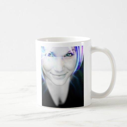 Futuristic Glowing Hair Woman Coffee Mugs