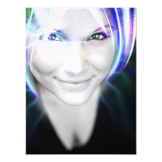 Futuristic Glowing Hair Woman Photographic Print