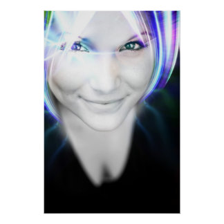 Futuristic Glowing Hair Woman Posters