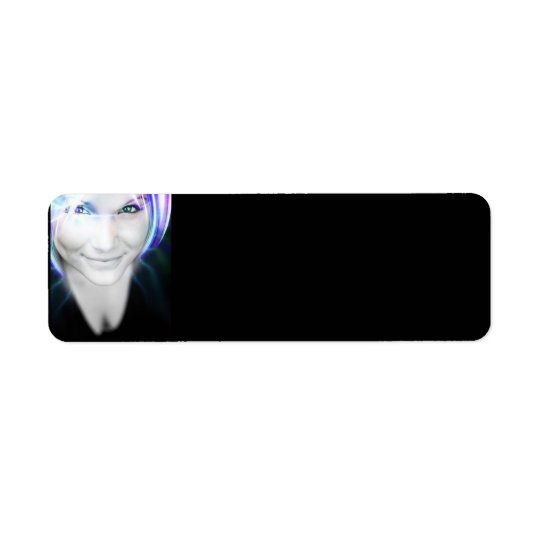 Futuristic Glowing Hair Woman Return Address Label