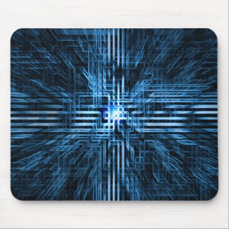 Futuristic, linear, circuit, grid... blues mousepads