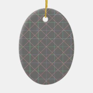Futuristic Pinstripes Ceramic Oval Decoration