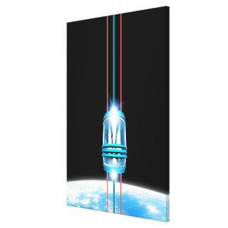 Futuristic Space Elevator Stretched Canvas Prints