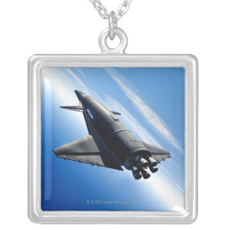 Futuristic Space Shuttle Silver Plated Necklace