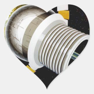 Futuristic Space Station Exterior Heart Sticker