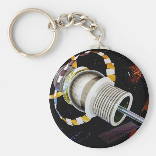 Futuristic Space Station Exterior Keychains