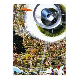 Futuristic Space Station Interior 14 Cm X 19 Cm Invitation Card