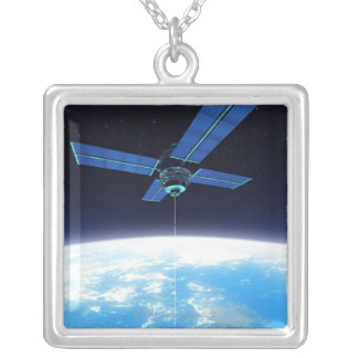 Futuristic Space Station Silver Plated Necklace