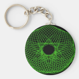 Futuristic spirograph basic round button key ring