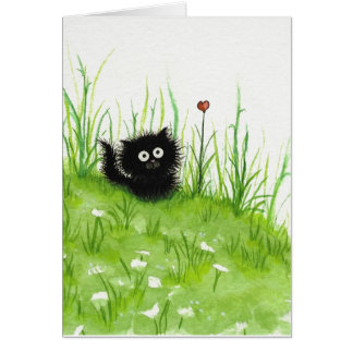 Fuzzy Black Cat by Bihrle Blank Card
