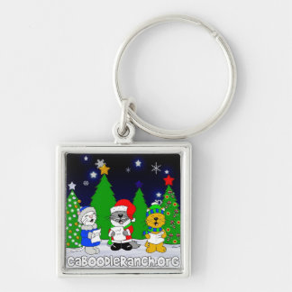 'Fuzzy Carolers' Silver-Colored Square Key Ring