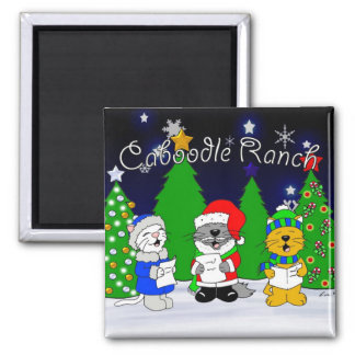 'Fuzzy Carolers' Square Magnet