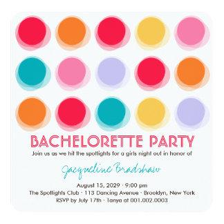 Fuzzy Color Disco Dots Bachelorette Party Invite
