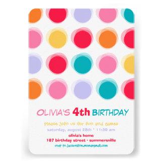 Fuzzy Colorful Cute Dots Kids Girl Birthday Invite