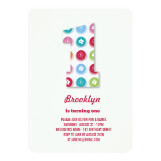 Fuzzy Daisies Color Dots 1st Birthday Party Photo 11 Cm X 16 Cm Invitation Card