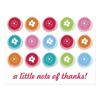 Fuzzy Daisy Dots Kids Birthday Thank You Postcard