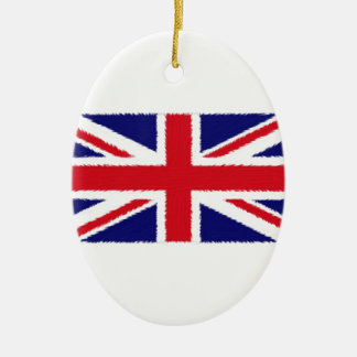 Fuzzy Edge Painted Union Jack Flag Christmas Ornament