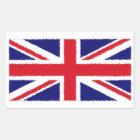 Fuzzy Edge Painted Union Jack Flag Rectangular Sticker