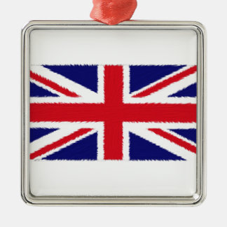 Fuzzy Edge Painted Union Jack Flag Silver-Colored Square Decoration