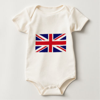 Fuzzy Edge Painted United Kingdom Union Jack Flag Baby Bodysuit