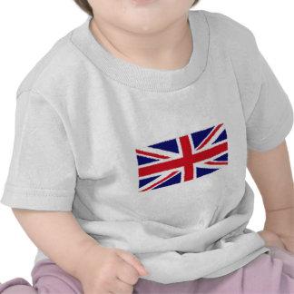 Fuzzy Edge Painted United Kingdom Union Jack Flag T Shirts