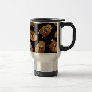 Fuzzy Hamster Pattern on Black, Original Art Travel Mug