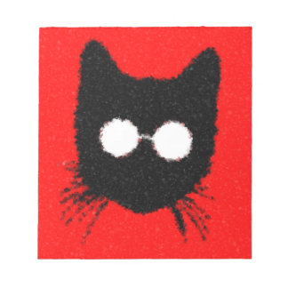 Fuzzy Hipster Cat with Glasses – red & black Notepad