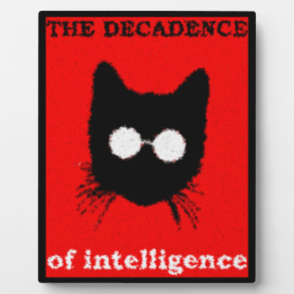 Fuzzy Hipster Cat with Glasses - red & black Plaque