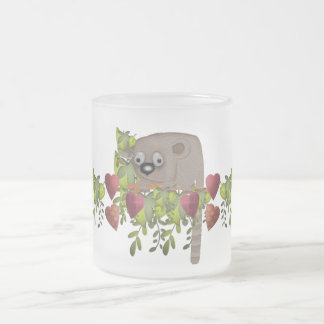 Fuzzy Lemur and Hearts Frosted Glass Coffee Mug